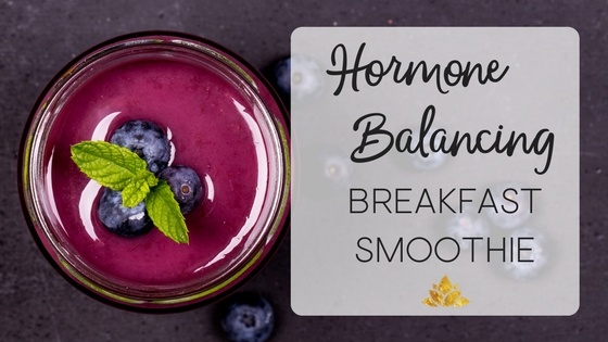 This hormone balancing breakfast smoothie is just what a girl needs! Full of the nutrients and protein that combat the fatigue of hormone imbalance and delicious- eat and feel good! | overcomingauto.com