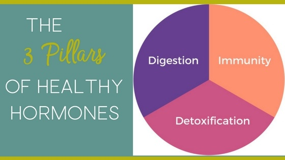 The Three pillars of healthy hormones explains the real reason for hormone imbalance, adrenal fatigue, thyroid problems and how fixing your immunity, your digestion and your detoxification can bring your hormones back into balance naturally.